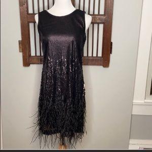 Jessica Simpson Black Feather Sequin dress.